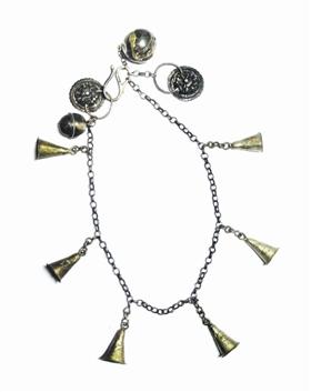 清代银质铃铛犬项链
