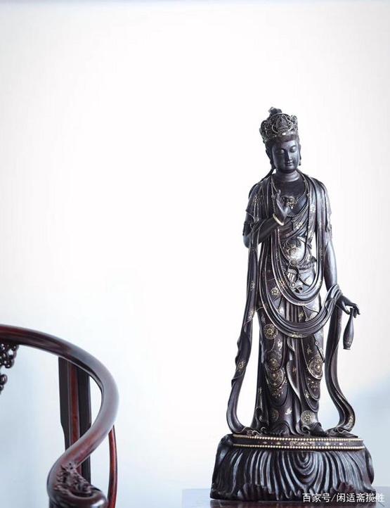印度小叶紫檀观音佛像