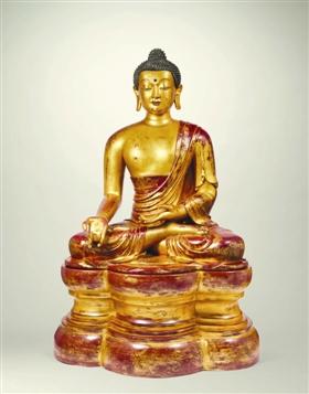 十八世纪御制木胎漆金药师佛坐像