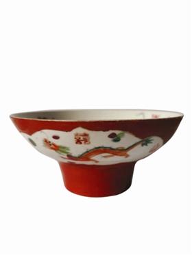 民国时期珊瑚红 龙凤呈祥高足碗