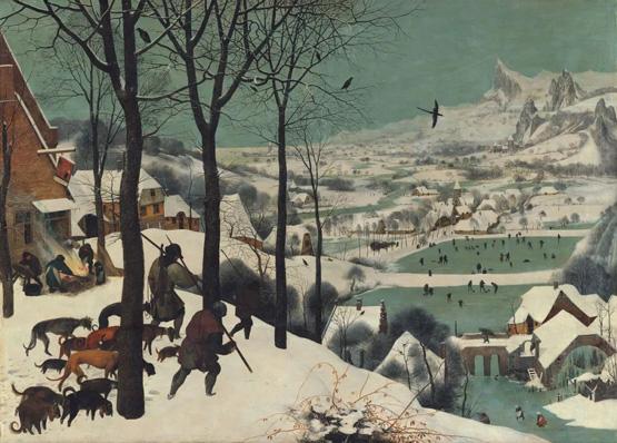 艺术作品中雪花飞舞的动人美景