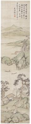 近代海派画家顾沄《策杖访友图》轴欣赏