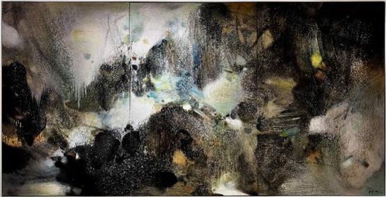 香港苏富比现代艺术晚间拍卖朱德群巨作《盛世雪》成交超2亿